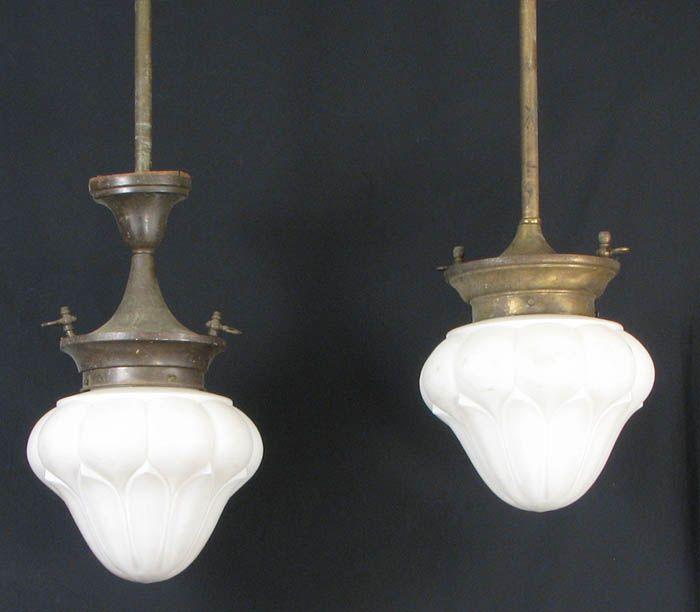 Pair Large Gas/Electric Hanging Lights