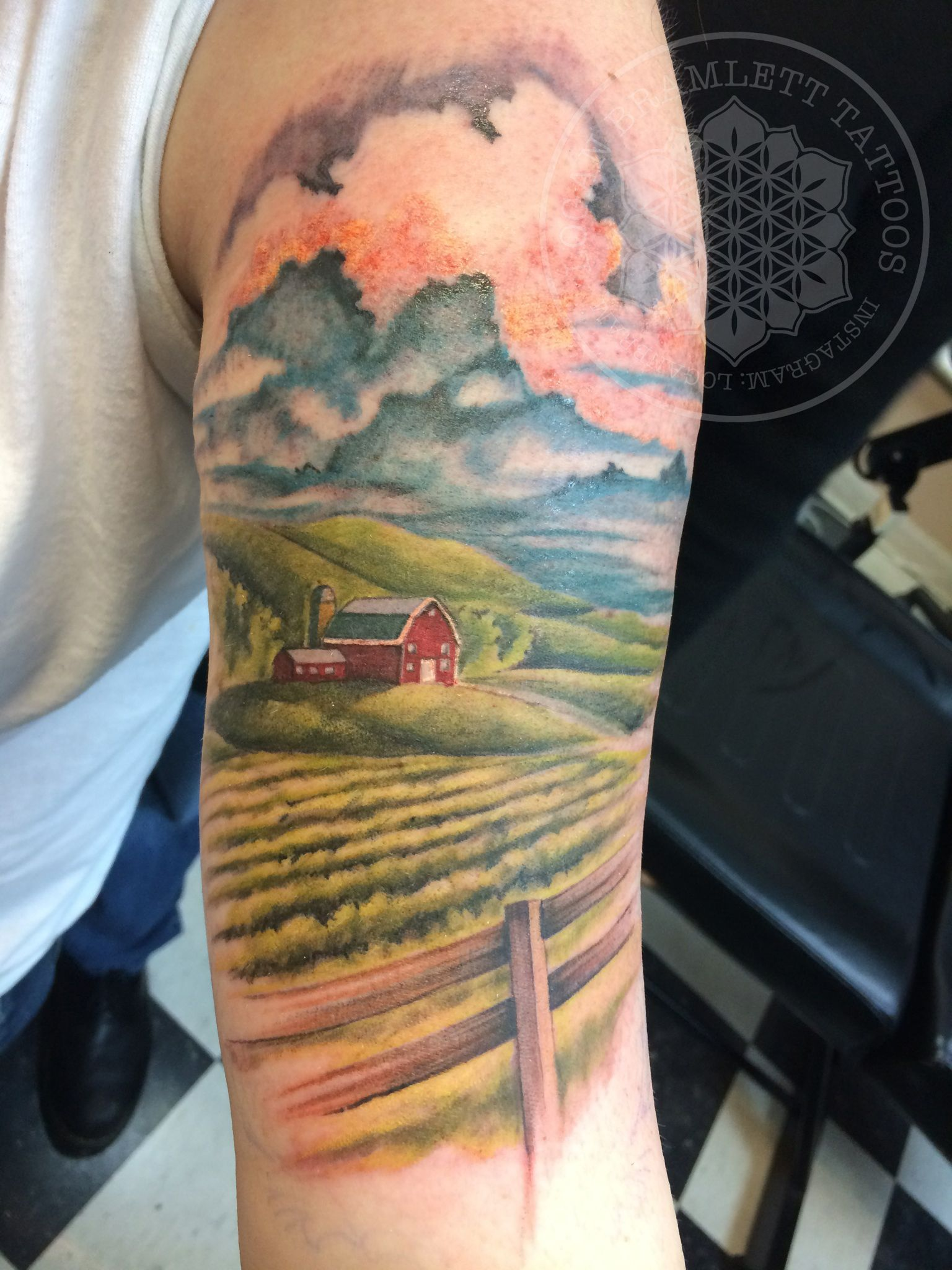 Color farm tattoo by logan bramlett tattoo ideas pinterest
