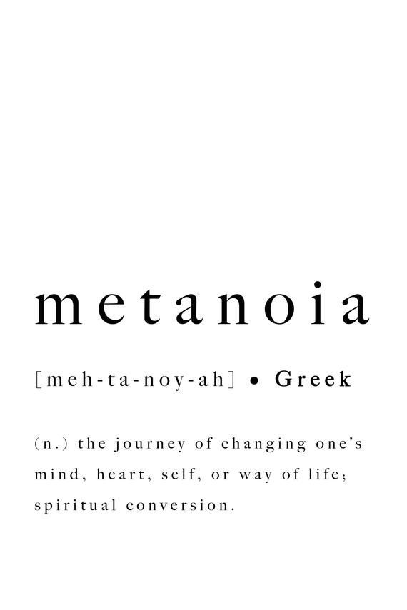 Photo of Metanoia Greek Word Definition Print Quote Inspirational | Etsy