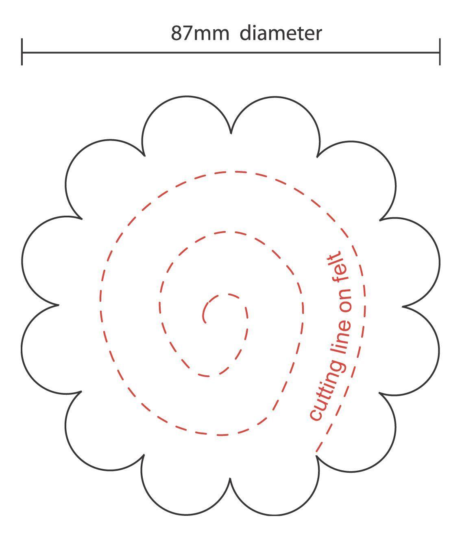 Felt Rose Template Printable #feltflowertemplate