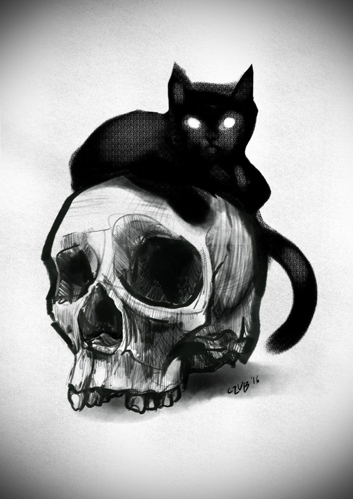 Skull Cat Halloween Art Drawing Tattoo Design Skeleton Art