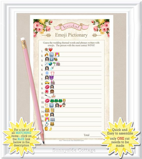 Emoji Pictionary Bridal Game With Vintage Roses Answers Included