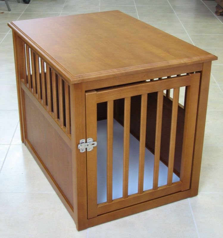 Crown Eco-Friendly Wooden Pet Crate End Table Dog Den