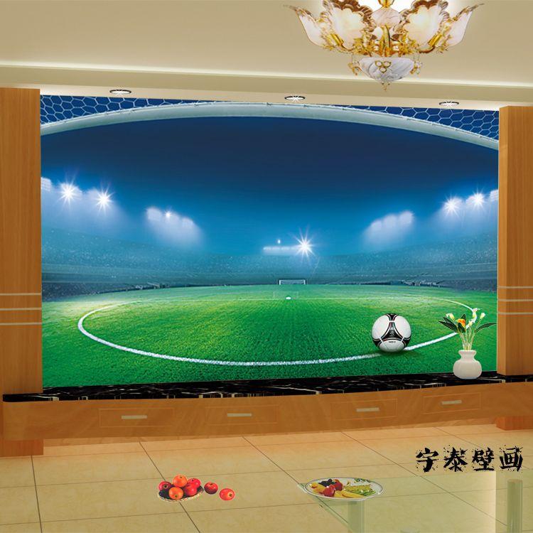 Voetbal Muurschilderingen Grote Schok 3d Custom Vliesbehang