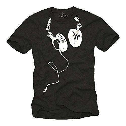 9d424dbe5 MAKAYA Camisetas negras hombre con manga corta - DJ Auriculares - L # camiseta #realidadaumentada #ideas #regalo
