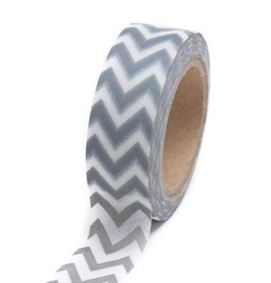 Silver Chevron Washi Tape - 15 m