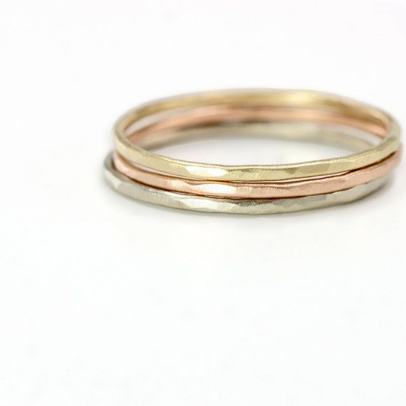 Tricolored 14k Gold Stacking Ring Set of 3 Thin Hammered Rings in
