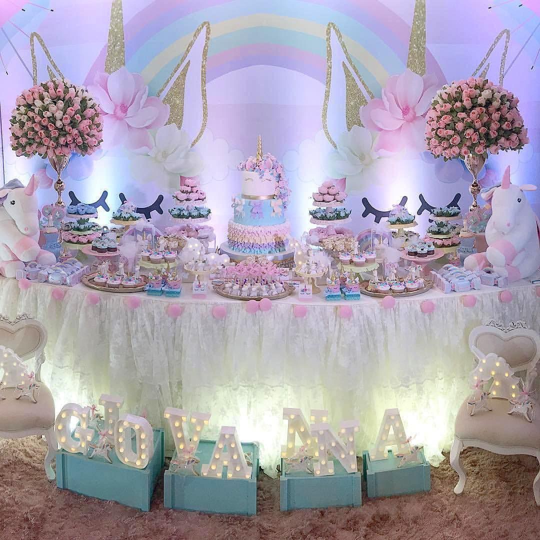 Beautiful Unicorn Theme Dessert Table And Decoration Inspiration Girl Birthday Decorations Pink Girl Birthday Unicorn Theme Party