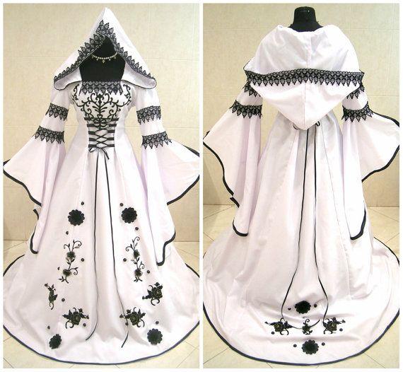 Sorci re gothique noir de la robe blanche mariage m di val - Ren des neige ...