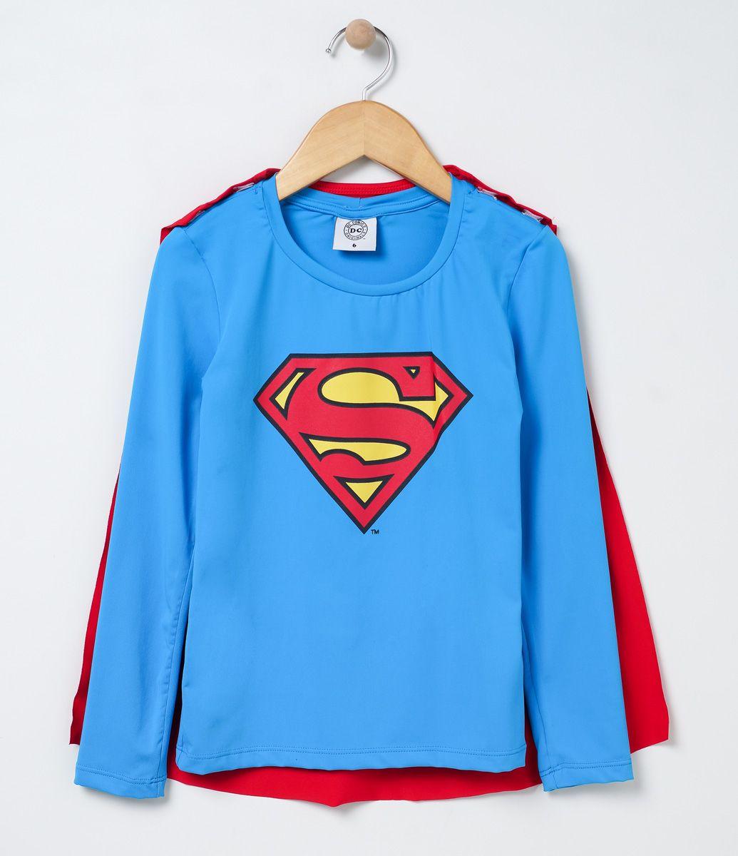 f6326ed9a Camiseta infantil Manga longa Gola redonda Com capa removível Com estampa Super  Homem Com proteção UV Marca  Accessories COLEÇÃO VERÃO 2017 Veja outras ...