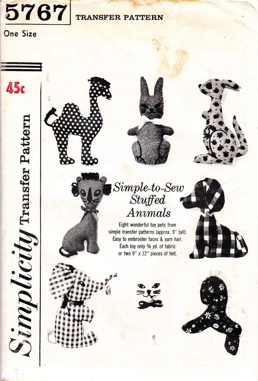 60s Vintage Soft Toys Sewing Pattern Simplicity 5767 UNUSED Kangaroo ...