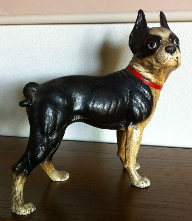 Antique Pair Of Hubley Boston Terrier Doorstop Banks Cast Iron