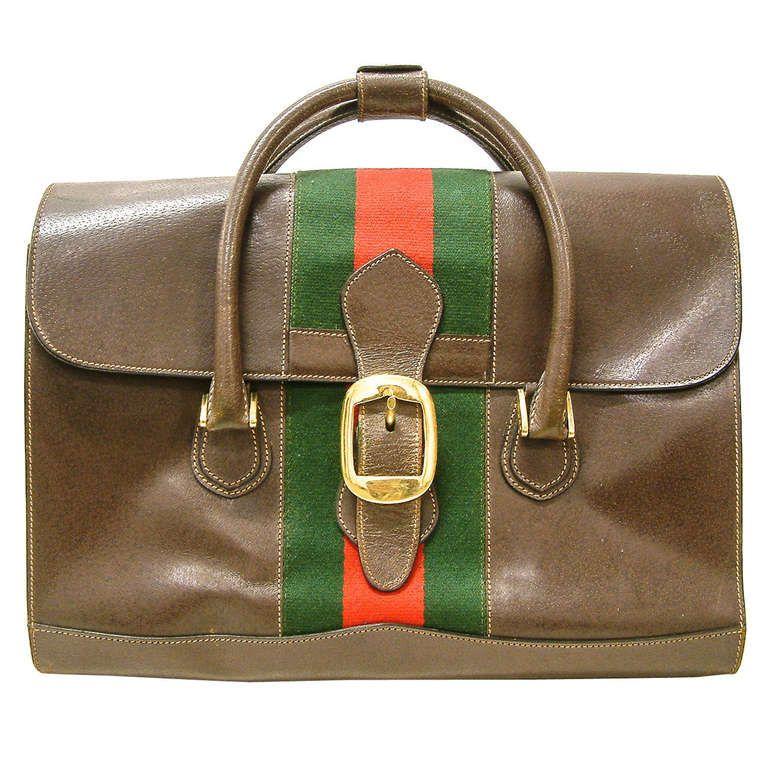 c39062e4a A Rare Gucci Leather, Fabric and Brass Travel Bag circa 1960 | From a unique
