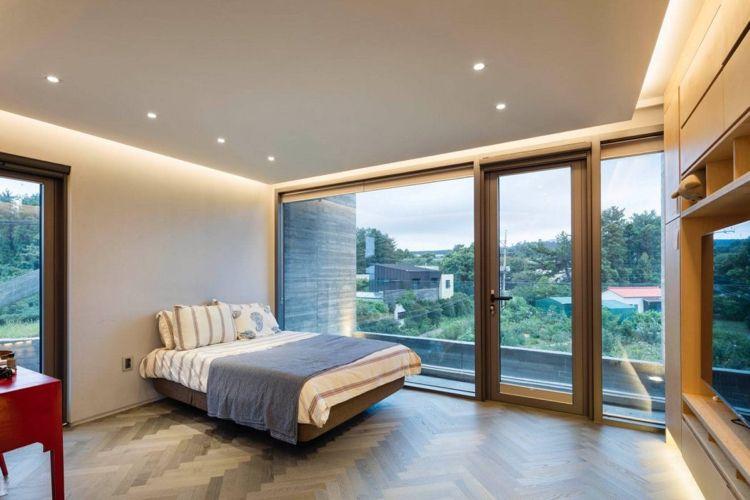 weiss grau parkettboden schlafzimmer indirekte beleuchtung ...