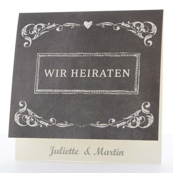 Einladungskarte Schiefer Retro Sweetwedding Hochzeitskarten