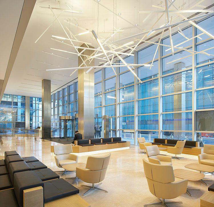 contemporary interior design lighting for kpmg s building at canary wharf contemporary. Black Bedroom Furniture Sets. Home Design Ideas