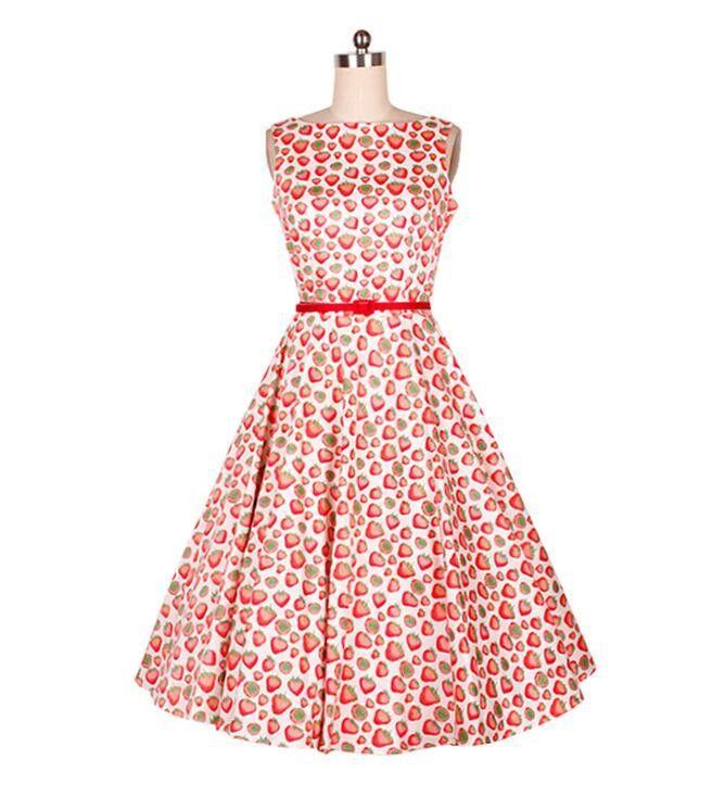 Vintage Printed Dress Sleeveless Women Slash Neck 60s 50s Audrey ...
