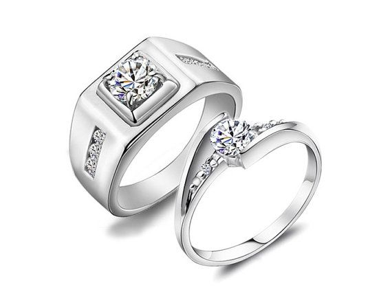 2pcs 1 3 0 6 Ct Platinum Wedding Rings Couple Rings Wedding Bands Lovers Rings Pro Sterling Silver Wedding Rings Couple Wedding Rings Jewelry Rings Engagement