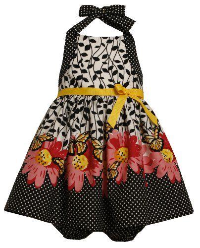 5f1e823ddc2f Bonnie Baby Girls Border Print Halter Dress BlackWhite 18 Months ...