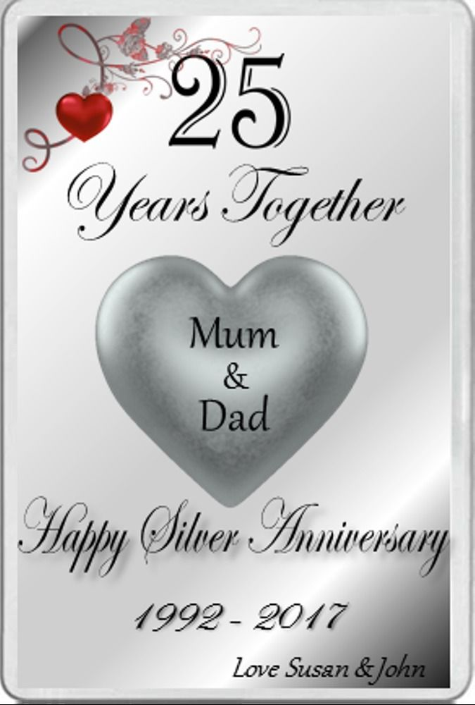 Fridge Magnet Married 25 Years Silver Wedding Anniversary Gift