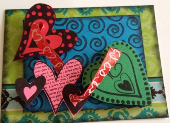 Handmade heart themed greeting card with envelove for sale