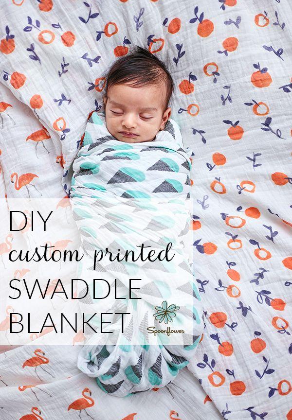 Make a DIY Custom printed swaddle blanket with Spoonflower Sweet Pea