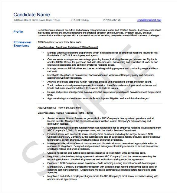 Senior HR Executive Resume Template , Executive Resume Template - hr manager resumes