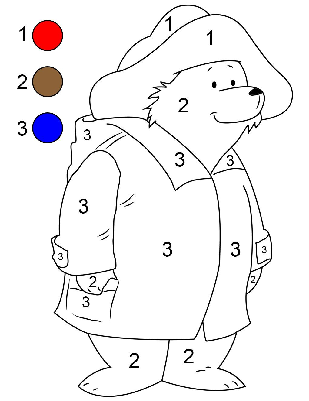 Paddington Paint By Number Printable With Images Bear Coloring