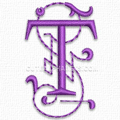 This free embroidery design is from cute embroidery s for Letter t decoration