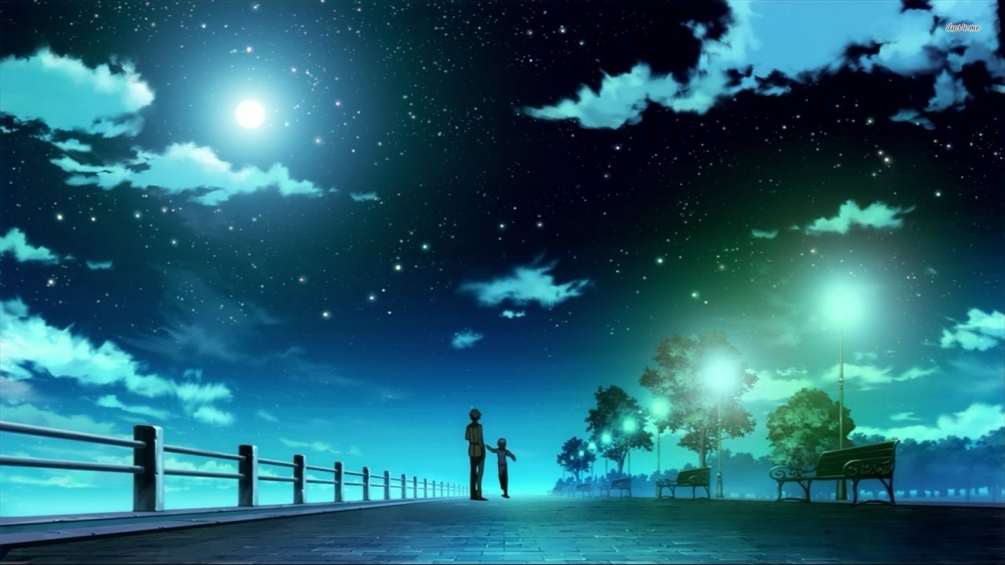 Collection Of Cute Anime Wallpaper On Hdwallpapers 1920 1200 Download Anime Wallpapers 42 Wall Night Sky Wallpaper Anime Wallpaper 1920x1080 Scenery Wallpaper