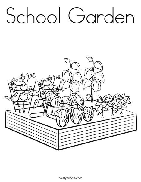 School Garden Coloring Page Twisty Noodle Vegetable Coloring Pages Farm Coloring Pages Garden Coloring Pages