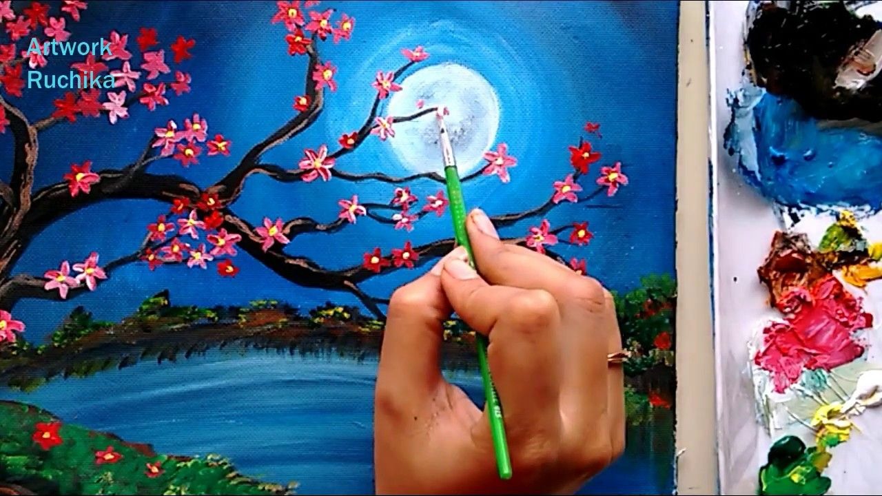 Night Scenery With Beautiful Flower Tree Acrylic Painting Youtube Tree Painting Canvas Landscape Painting Lesson Landscape Painting Tutorial