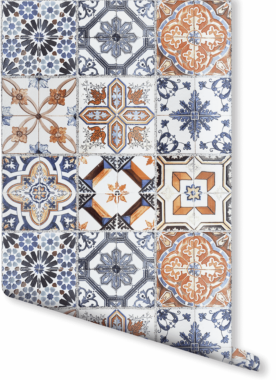 Add Some Ornate Moroccan Style To Your Home This Toned Blue And Orange Faux Tile