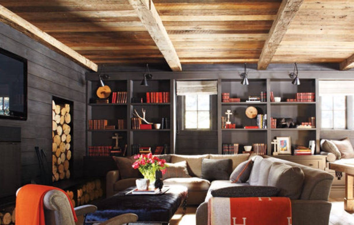 Black Stained Shiplap Paneling Family Room Design Cabin Chic Cabin Decor