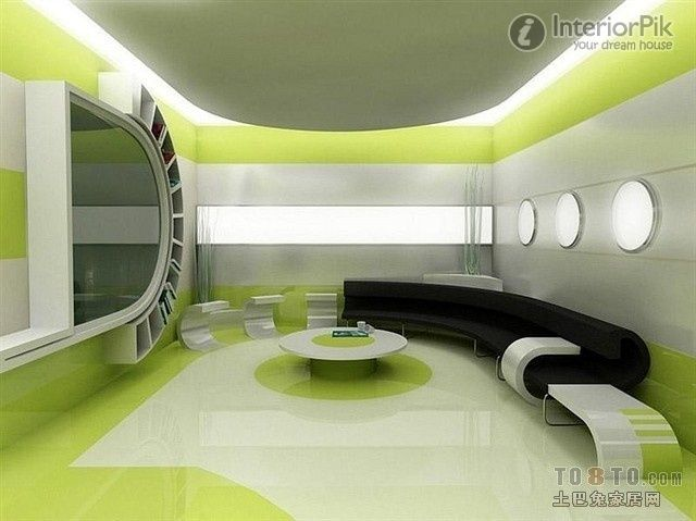 Green Creative Living Room, Arc Shaped Couch Filled With Art | Living Room