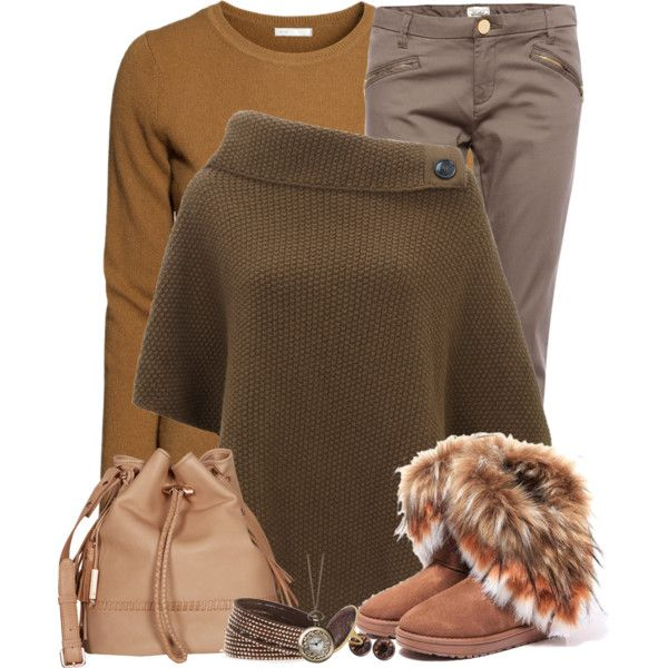 """Casual brown set"" by mona07 on Polyvore"