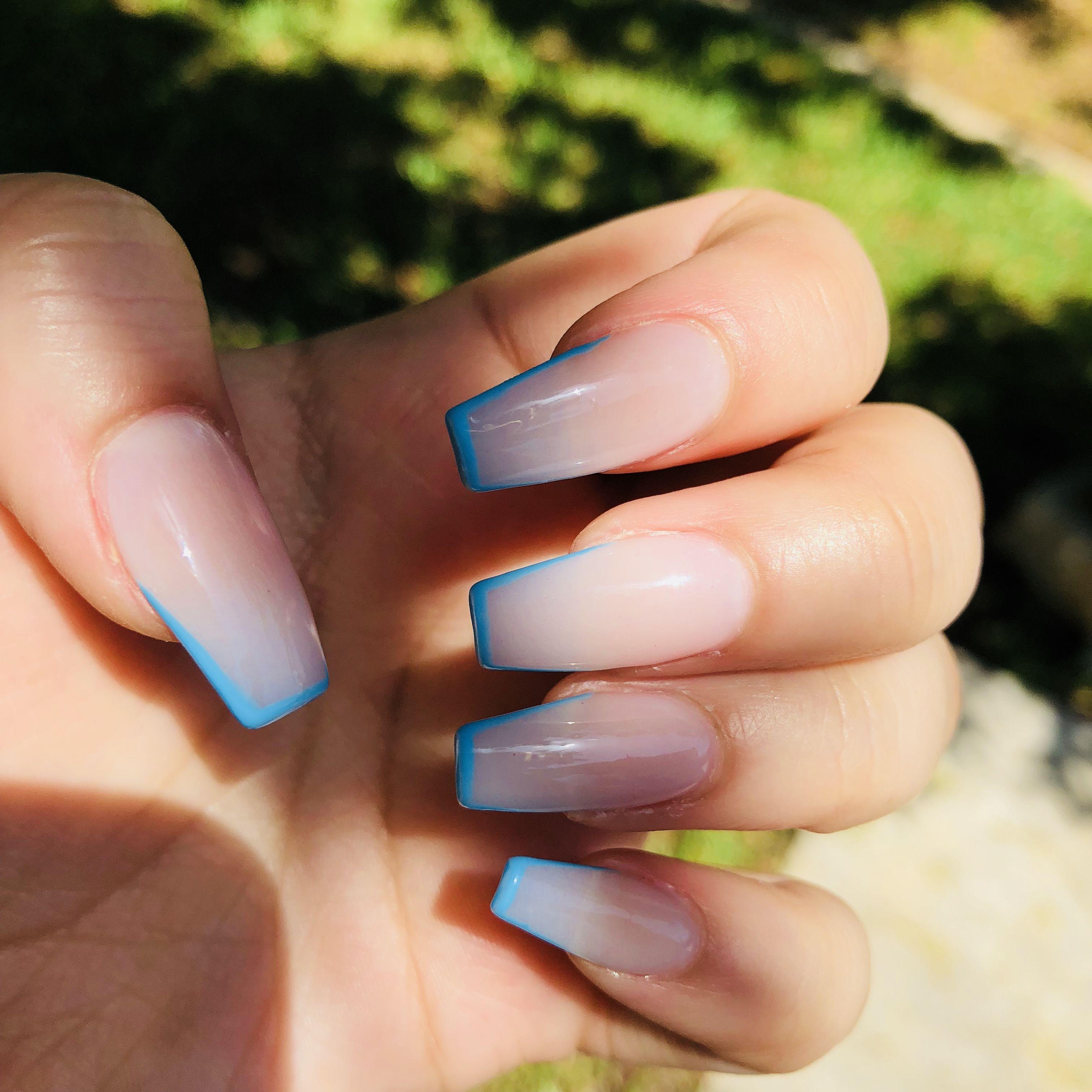 Acrylic Nails Light Blue Gel Outline Design Blue Acrylic Nails Pink Acrylic Nails Coffin