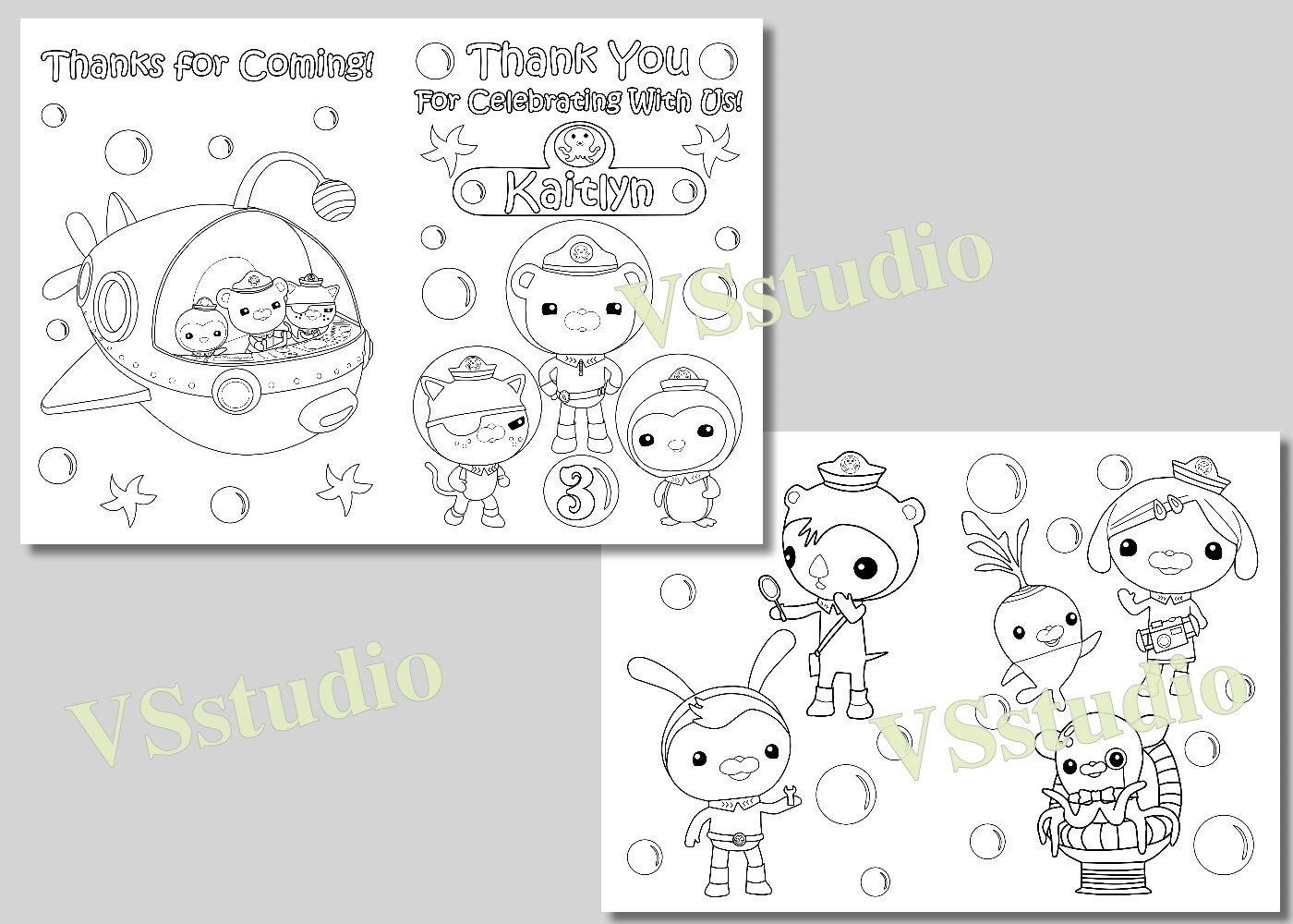 Octonauts Party Thank you coloring pages, activity book, PDF file ...