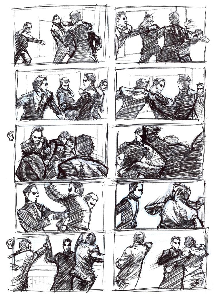 Matrix Reloaded Fight Scene Anime Fight Drawing Poses Male