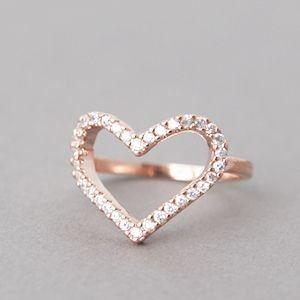 Keep • CZ Heart Shape Engagement Ring Rose Gold at Kellinsilver.com – heart s...