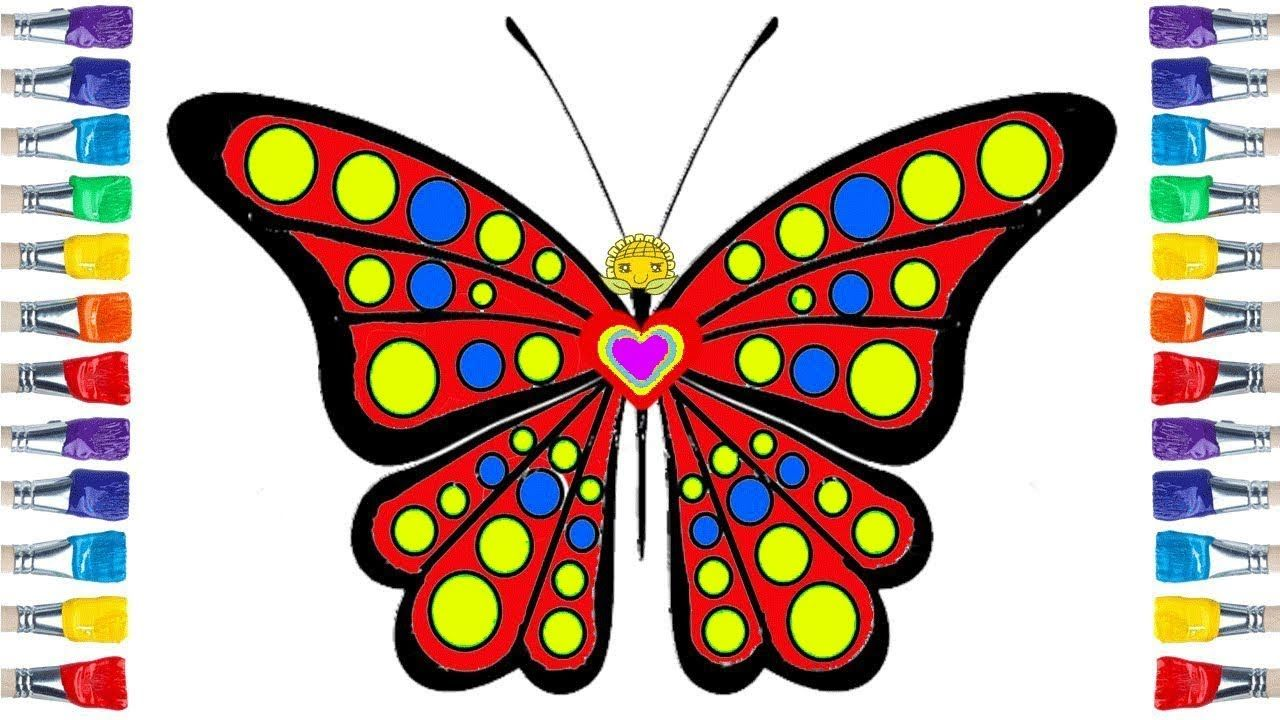 How To Draw A Butterfly Coloring And Drawing Learn Colors For Kids Coloring For Kids Learning Colors Draw