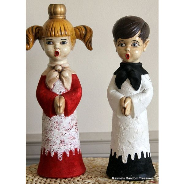 Vintage Candle Holders 1960s Lot of 2 Carolers 11 tall by RayMels ($12) ❤ liked on Polyvore
