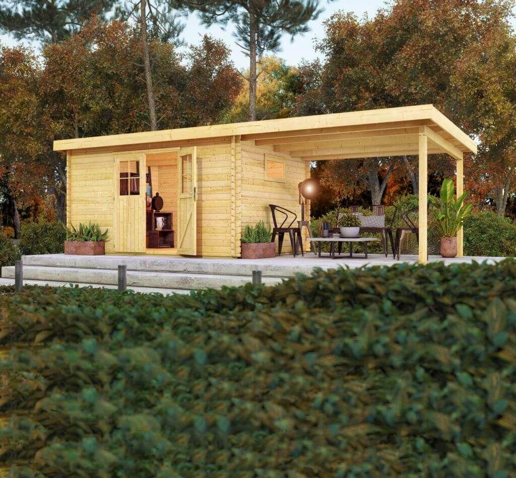 Gartenhaus Karibu 4 im Set mit Anbaudach 2,3 m