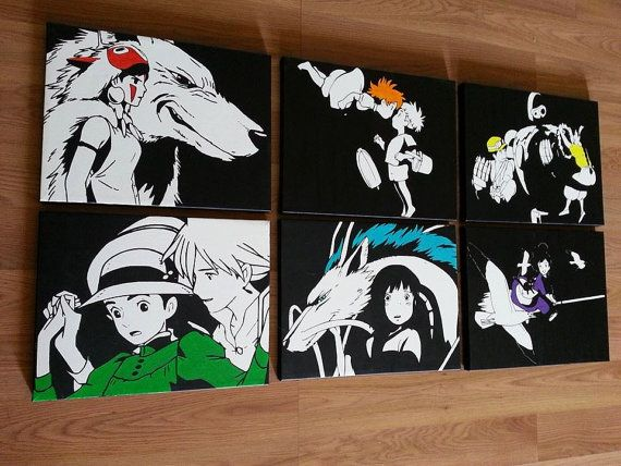 This Is A Listing For All 6 Studio Ghibli Canvases Each Canvas Is 11x14 Inches Anime Canvas Studio Ghibli Art Anime Crafts