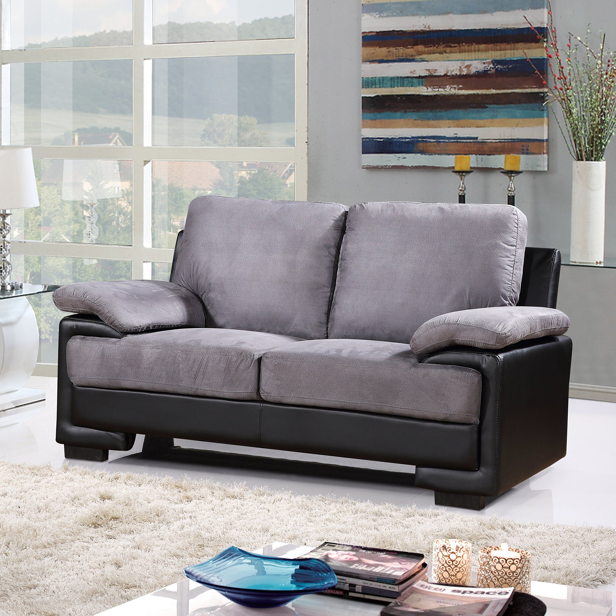Modern Faux Leather And Brush Microfiber Sofa Loveseat Living Room Furniture Set Black Grey You Could Get Extra Information At The Photo Link