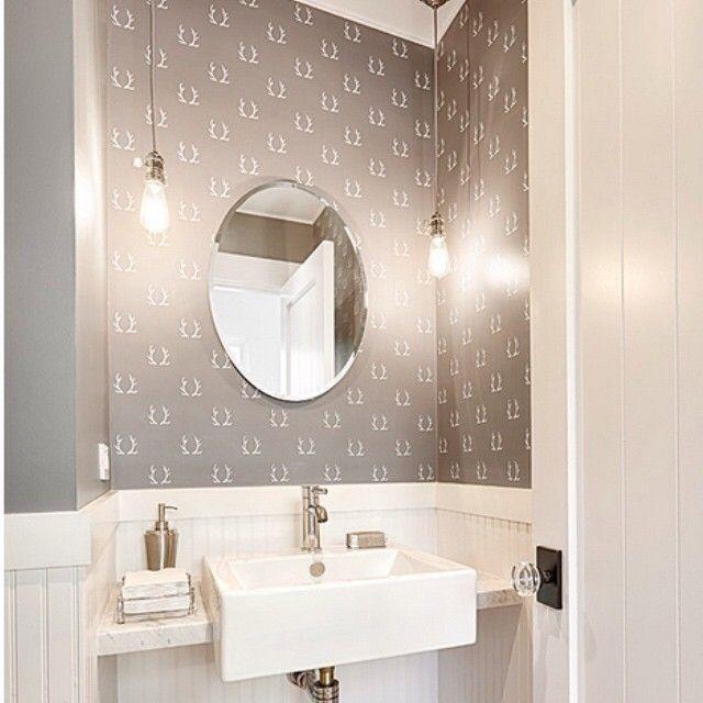 Cool grey powder room on this cool grey New York day.  #removablewallpaper #powderroom #grey