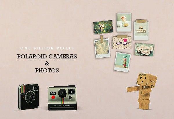 One billion pixels polaroid cameras photos wall decor for Room decor sims 4