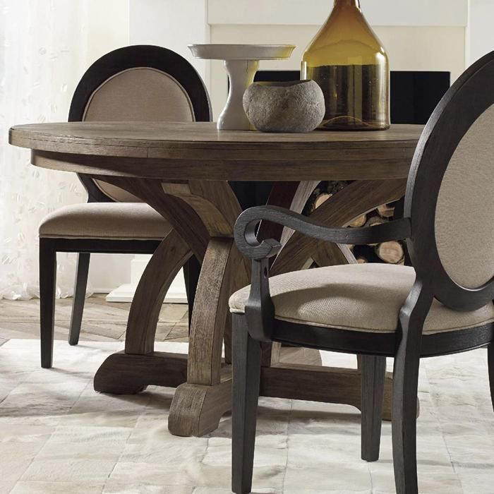 Corsica Round Dining Table With 1 Leaf In Light Natural Acacia Nebraska Furniture Mart Side Chairs Dining Round Extendable Dining Table Pedestal Dining Table