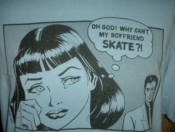 Vintage Thrasher 80s design skateboard 50s pop art t shirt skate skateboarding Ad baby blue ($38.00) - Svpply