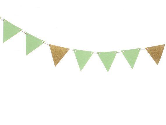 Mint Wedding Decor Gold Green Triangle Flag Banner